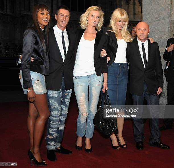 Naomi Campbell Stefano Gabbana Eva Herzigova Claudia Schiffer and Domenico Dolce attend the DG Perfumes Collection Launch at la Rinascente Piazza on...