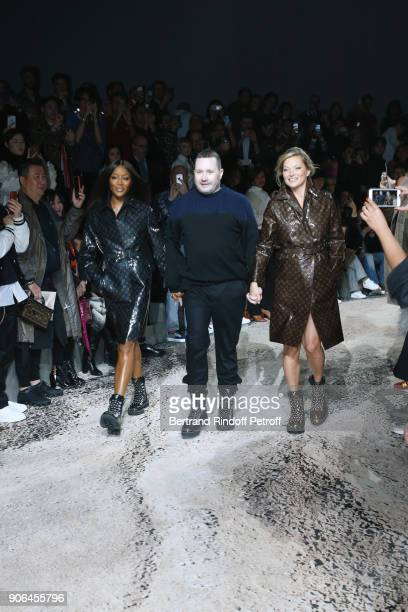 Naomi Campbell stylist Kim Jones and Kate Moss walk the runway during the Louis Vuitton Menswear Fall/Winter 20182019 show as part of Paris Fashion...