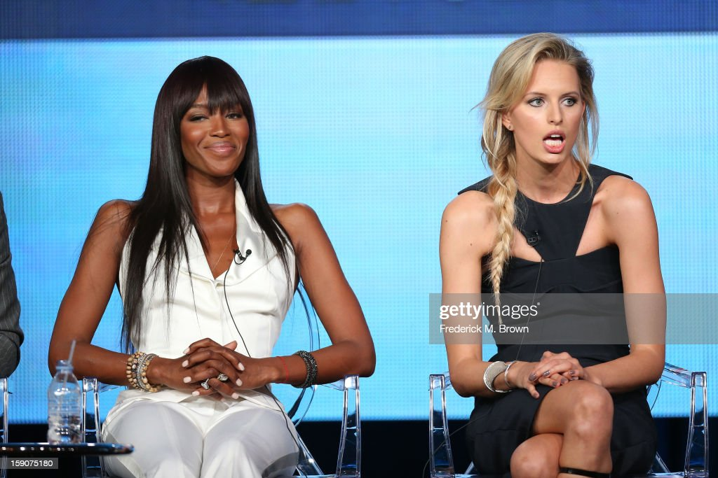 Naomi Campbell, Supermodel Coach and Executive Producer (L) and Karolina Kurkova, Supermodel Coach speak onstage at the 'The Face' panel discussion during the Oxygen portion of the 2013 Winter TCA Tour- Day 4 at the Langham Hotel on January 7, 2013 in Pasadena, California.