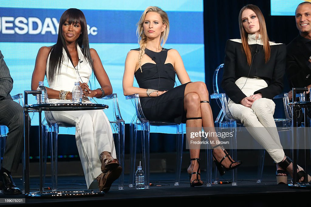 Naomi Campbell, Supermodel Coach and Executive Producer, Karolina Kurkova, Supermodel Coach, Coco Rocha, Supermodel Coach, and host Nigel Barker speak onstage at the 'The Face' panel discussion during the Oxygen portion of the 2013 Winter TCA Tour- Day 4 at the Langham Hotel on January 7, 2013 in Pasadena, California.