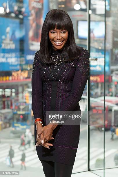 """Naomi Campbell visits """"Extra"""" at their H&M Studio in Times Square on March 5, 2014 in New York City."""