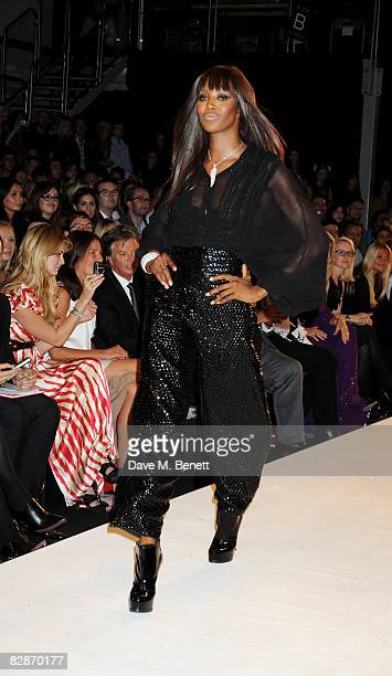 Naomi Campbell walks down the runway during the Fashion For Relief LFW Spring Summer 2009 fashion show, at the BFC Tent on September 17, 2008 in...