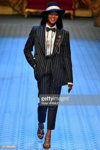 Naomi Campbell walks the runway at the Dolce Gabbana fashion show during Milan Men's Fashion Week Spring/Summer 2019 on June 16 2018 in Milan Italy