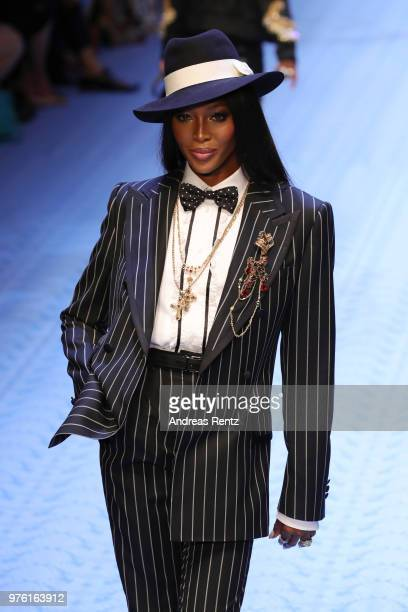 Naomi Campbell walks the runway at the Dolce Gabbana show during Milan Men's Fashion Week Spring/Summer 2019 on June 16 2018 in Milan Italy