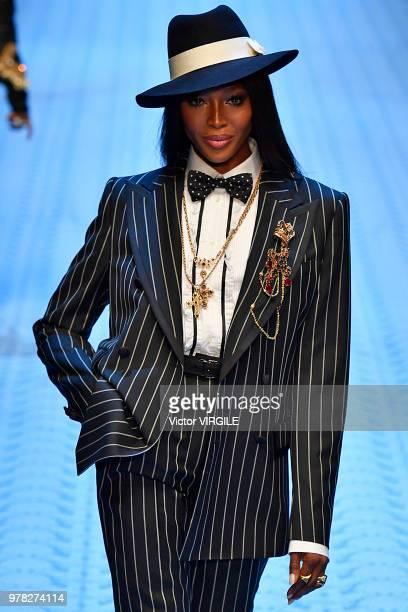 Naomi Campbell walks the runway at the Dolce Gabbana show during Milan Men's Fashion Week Spring/Summer 2019 on June 16 2018 in Milan Italy