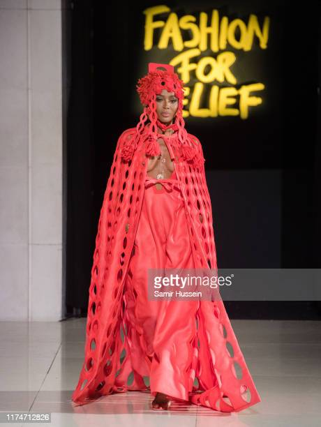 Naomi Campbell walks the runway at the Fashion for Relief show during London Fashion Week September 2019 on September 14 2019 in London England