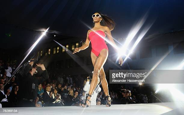 Naomi Campbell walks the runway at the GQ fashion show during the GQ style night at the Wappenhalle July 9 2007 in Munich Germany