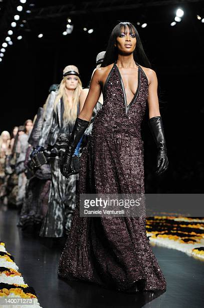 Naomi Campbell walks the runway at the Roberto Cavalli Autumn/Winter 2012/2013 fashion show as part of Milan Womenswear Fashion Week on February 27...
