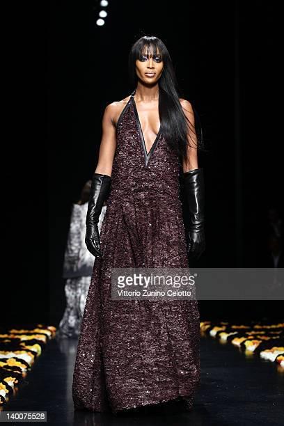 Naomi Campbell walks the runway at the Roberto Cavalli Autumn/Winter 2012/2013 fashion show as part of Milan Womenswear Fashion Week on February 27,...