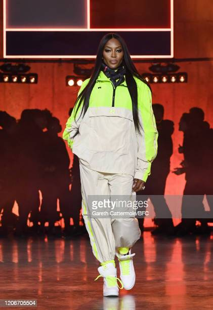 Naomi Campbell walks the runway at the TommyNow show during London Fashion Week February 2020 at the Tate Modern on February 16, 2020 in London,...