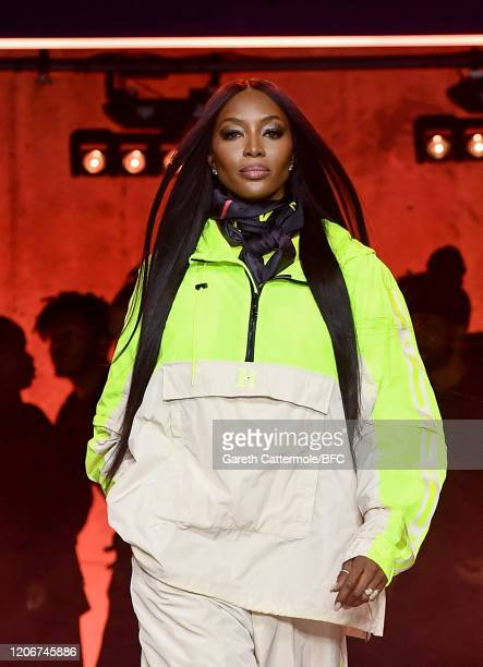 Naomi Campbell walks the runway at the TommyNow show during London Fashion Week February 2020 at the Tate Modern on February 16 2020 in London England