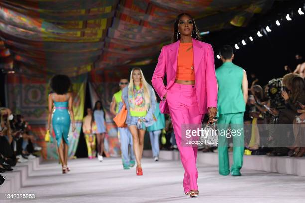 Naomi Campbell walks the runway at the Versace fashion show during the Milan Fashion Week - Spring / Summer 2022 on September 24, 2021 in Milan,...