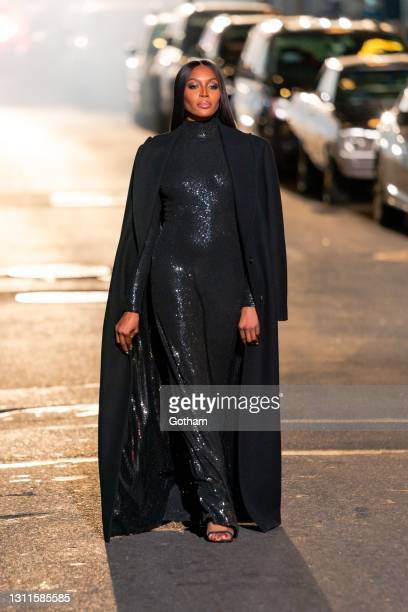 Naomi Campbell walks the runway during at the Michael Kors Fashion Show at the Booth Theater in Midtown on April 08, 2021 in New York City.