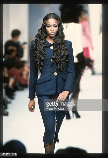 Naomi Campbell walks the runway during the Chanel Haute Couture show as part of Paris Fashion Week Spring/Summer 19921993 in January 1992 in Paris...