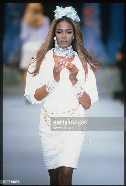 Naomi Campbell walks the runway during the Chanel Ready to Wear show as part of Paris Fashion Week Spring/Summer 19921993 in October 1992 in Paris...