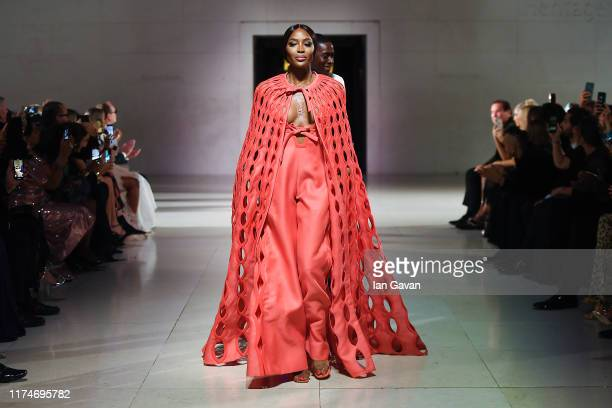 Naomi Campbell walks the runway during the Fashion For Relief catwalk show London 2019 at The British Museum on September 14 2019 in London England