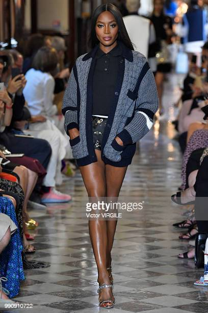 Naomi Campbell walks the runway during the finale of the Miu Miu 2019 Cruise Collection Show at Hotel Regina on June 30 2018 in Paris France