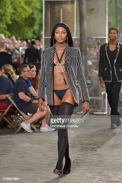 Naomi Campbell walks the runway during the Givenchy Menswear Spring/Summer 2016 show as part of Paris Fashion Week on June 26 2015 in Paris France