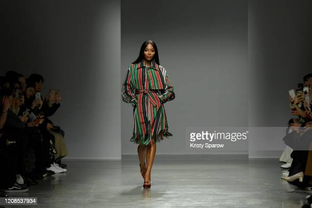 Naomi Campbell walks the runway during the Kenneth Ize show as part of Paris Fashion Week Womenswear Fall/Winter 2020/2021 on February 24 2020 in...