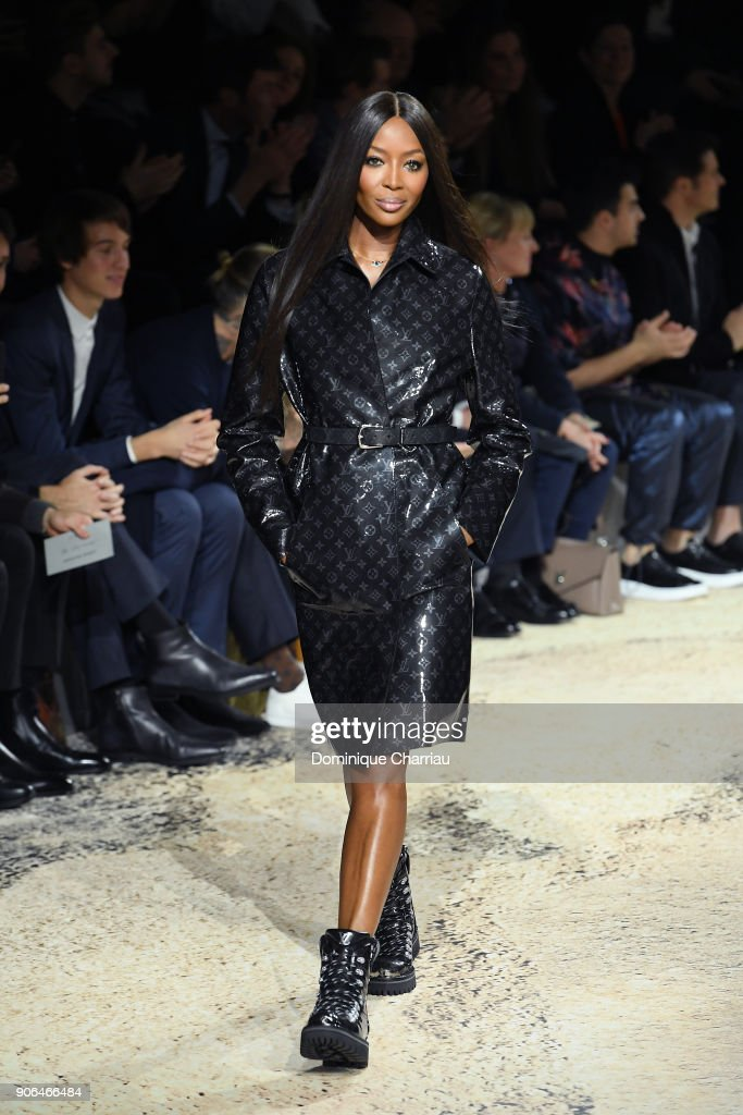 Naomi Campbell walks the runway during the Louis Vuitton Menswear Fall/Winter 2018-2019 show as part of Paris Fashion Week on January 18, 2018 in Paris, France.