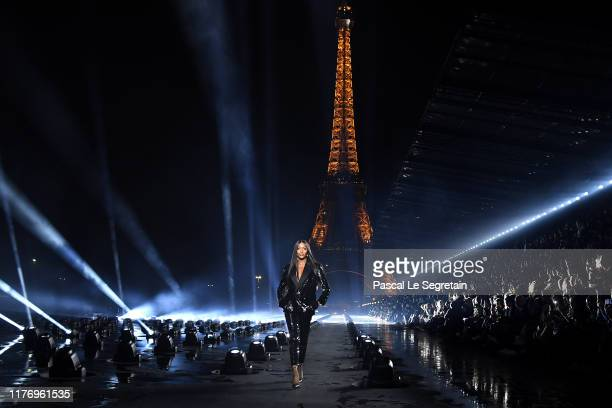 Naomi Campbell walks the runway during the Saint Laurent Womenswear Spring/Summer 2020 show as part of Paris Fashion Week on September 24 2019 in...