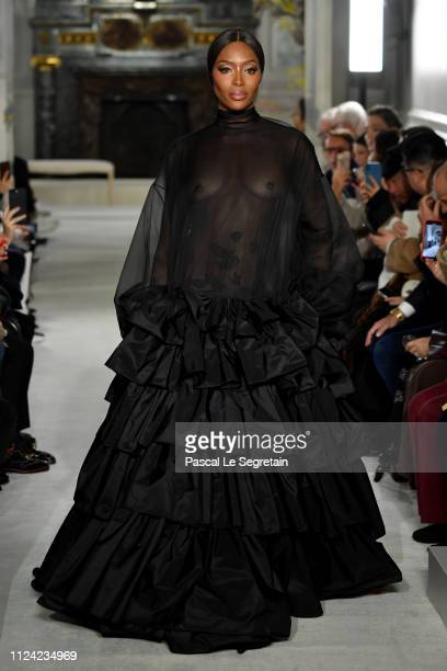 Naomi Campbell walks the runway during the Valentino Spring Summer 2019 show as part of Paris Fashion Week on January 23 2019 in Paris France