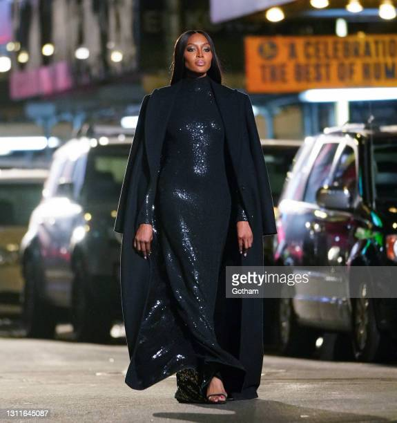 Naomi Campbell walks the streets of NY for a Michael Kors fashion show on April 08, 2021 in New York City.