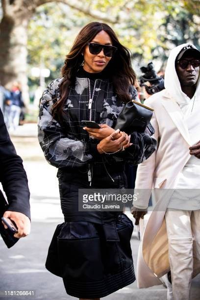 Naomi Campbell wearing a black printed jacket is seen outside the Sacai show during Paris Fashion Week Womenswear Spring Summer 2020 on September 30...