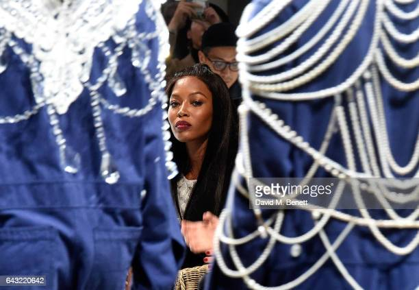 Naomi Campbell wearing Burberry attend the Burberry February 2017 Show during London Fashion Week February 2017 at Makers House on February 20 2017...