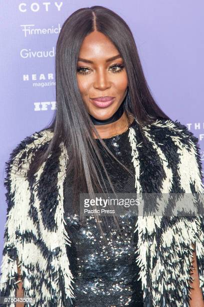 Naomi Campbell wearing dress by Alexander McQueen attends 2018 Fragrance Foundation Awards at Alice Tully Hall at Lincoln Center