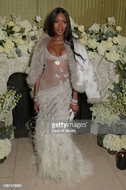 Naomi Campbell wearing Tiffany & Co. Attends the British Vogue and Tiffany & Co. Celebrate Fashion and Film Party at Annabel's on February 10, 2019...