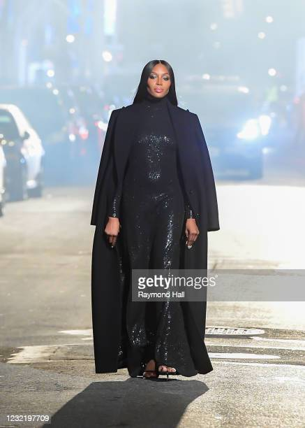 Naomi Campbells seen on the set of the Michael Kors fashion show on April 8, 2021 in New York City.