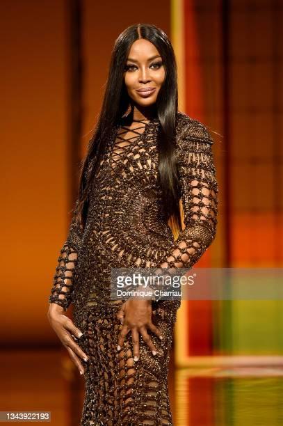 Naomi Campbellwalks the runway during the Balmain Festival V02 Womenswear Spring/Summer 2022 show as part of Paris Fashion Week at La Seine Musicale...