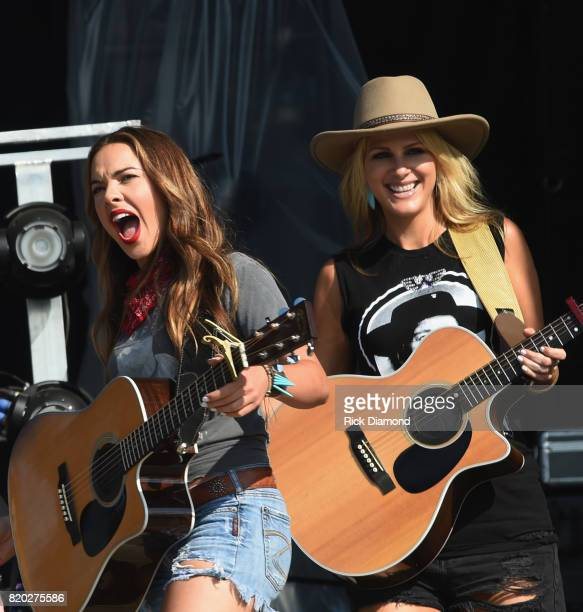 Naomi Cooke and Jennifer Wayne of Country Trio Runaway June perform at Country Thunder In Twin Lakes Wisconsin Day 1 on July 20 2017 in Twin Lakes...