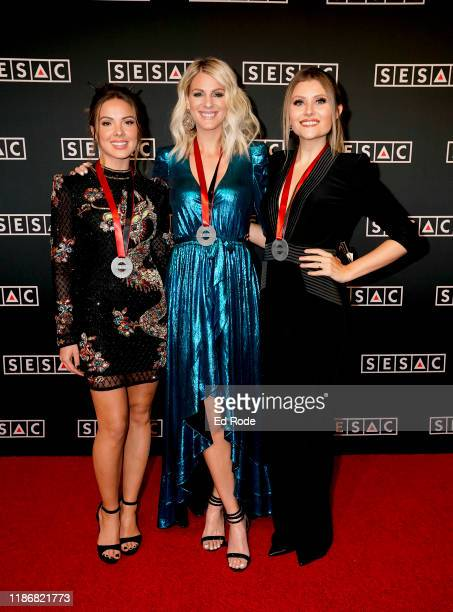 Naomi Cooke Jennifer Wayne and Hannah Mulholland of Runaway June attend the 2019 SESAC Nashville Music Awards at Country Music Hall of Fame and...