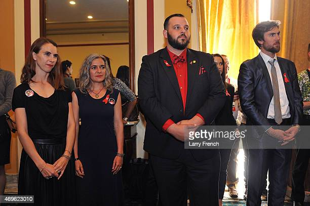 Naomi deLuce Wilding Laela Wilding Actor Daniel Franzese and Tarquin Wilding attend the Positive Leadership Award reception at the Rayburn House...