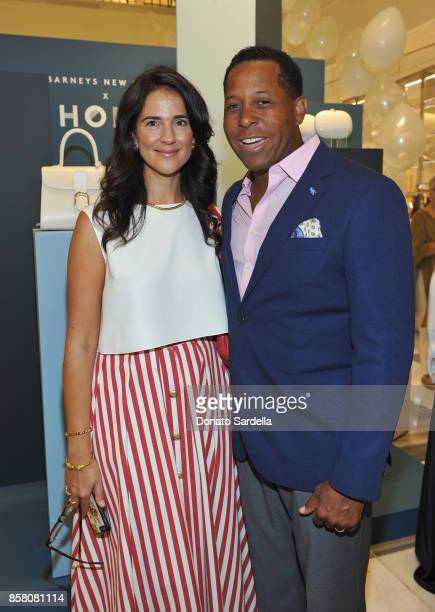Naomi Firestone and HOLA Chair Committee Tony Brown attend a Cocktail Event in support of HOLA Heart of Los Angeles hosted by Barneys New York at...
