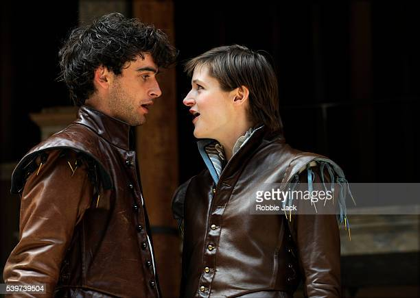 Naomi Frederick as Rosalind and Jack Laskey as Orlando in the production of William Shakespear's play As You Like It at Shakespear's Globe Theatre in...
