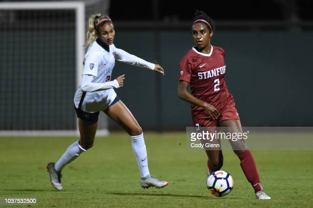 Naomi Girma of Stanford University in action against Amanda Porter of University of Arizona at Laird Q Cagan Stadium on September 21 2018 in Stanford...
