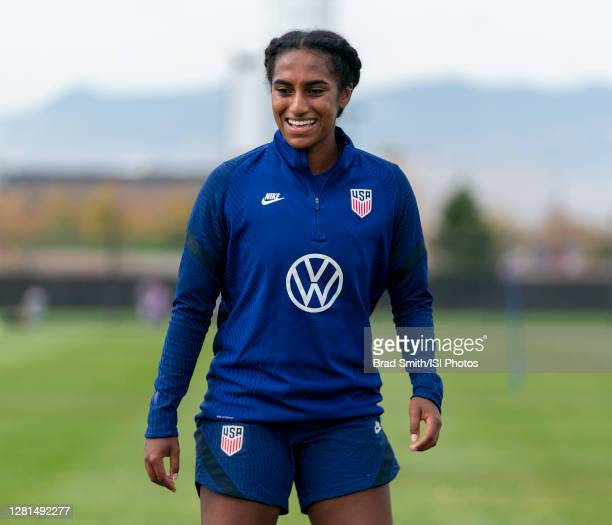 Naomi Girma of the USWNT waits for the ball during a training session at Dick's Sporting Goods Park training fields on October 20 2020 in Commerce...