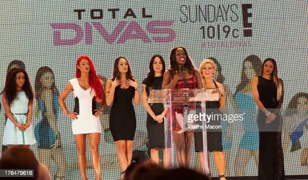 Naomi Jojo Eva Marie Nikki Bella Brie Bella Natalya and Cameron of Total Divas attend WWE SummerSlam Press Conference at Beverly Hills Hotel on...