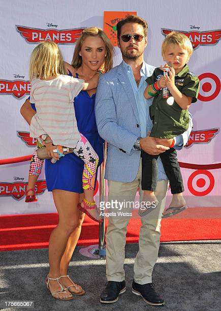 Naomi LowdePriestley actor Jason Priestley and Dashiell Orson Priestley arrive at the premiere of Disney's 'Planes' presented by Target at the El...
