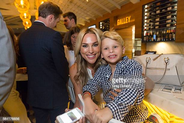 Naomi LowdePriestley and son Dashiell Orson Priestley attend the Raising The Bar To End Parkinson's after party at Laurel Point on July 27 2016 in...