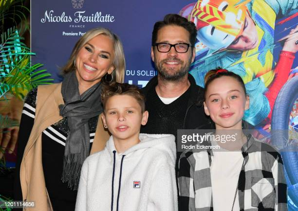 Naomi LowdePriestley Dashiell Orson Priestley Jason Priestley and Ava Veronica Priestley attend the LA Premiere of Cirque Du Soleil's Volta at Dodger...