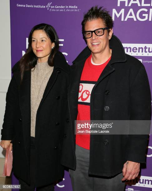 Naomi Nelson and Johnny Knoxville attend the premiere of Momentum Pictures' 'Half Magic' at The London West Hollywood on February 21 2018 in West...
