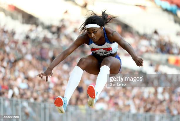 Naomi Ogbeta of Great Britain competes in the Women's Triple Jump during day two of the Athletics World Cup London at the London Stadium on July 15...
