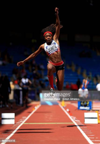 Naomi Ogbeta of Great Britain competes in the Women's Triple Jump Final during day one of the British Athletics World Championships Team Trials at...
