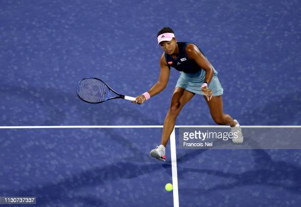 Naomi Osaka of Jaoan in action against Kristina Mladenovic of France during day three of the WTA Dubai Duty Free Tennis Championships at Dubai Tennis...