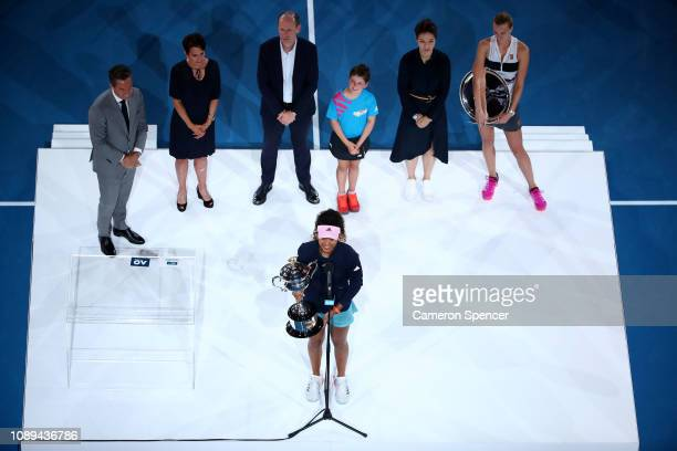Naomi Osaka of Japan addresses the crowd after being presented with the Daphne Akhurst Memorial Cup following victory in her Women's Singles Final...