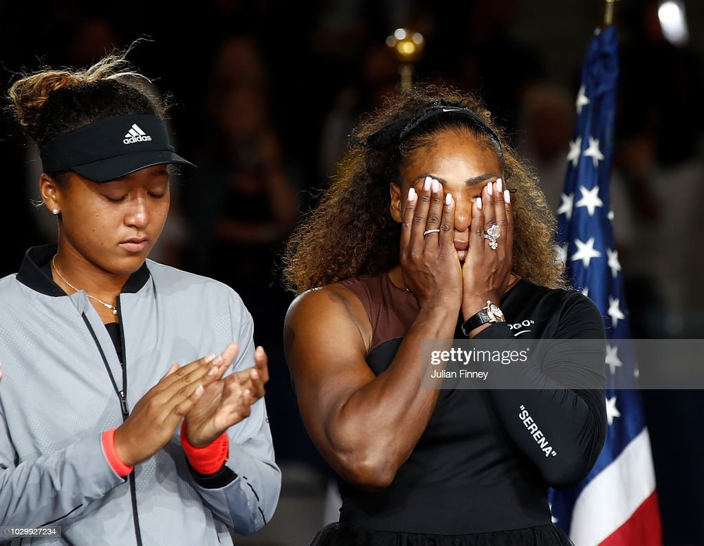 Naomi Osaka of Japan after winning the Women's Singles finals match alongside runner up Serena Williams of the United States on Day Thirteen of the 2018 US Open at the USTA Billie Jean King National Tennis Center on September 8, 2018 in the Flushing neighborhood of the Queens borough of New York City.